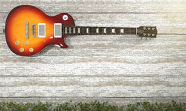 3d rendering electrical guitar near vintage white wooden wall with ivy Stock Images