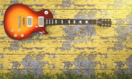 3d rendering electrical guitar near vintage wooden wall with ivy Stock Photography