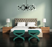 3d rendering of an elegant green bedroom royalty free illustration
