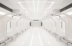 3D rendering elements of this image furnished ,Spaceship white interior ,tunnel,corridor,hallway royalty free illustration