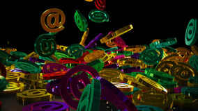 3d rendering email. 3d rendering of falling signs email. Variant in color style Stock Photography