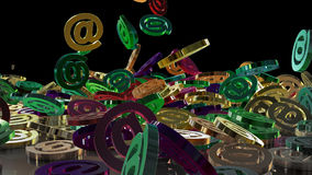 3d rendering email. 3d rendering of falling signs email. Variant in color style Royalty Free Stock Image