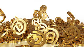 3d rendering email. 3d rendering of falling signs email. Variant in gold style Royalty Free Stock Photo