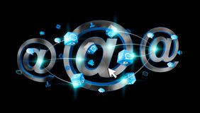3D rendering email icon connected to each other. On black background Royalty Free Stock Image