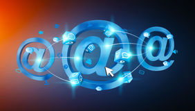 3D rendering email icon connected to each other. On blue background Royalty Free Stock Photography