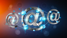 3D rendering email icon connected to each other. On blue background Stock Photography