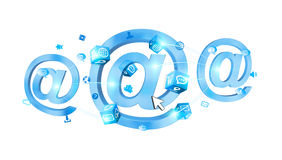 3D rendering email icon connected to each other. On white background Stock Image