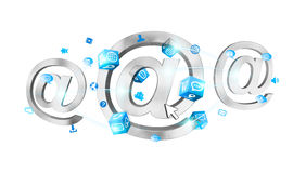 3D rendering email icon connected to each other. On white background Stock Images