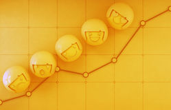 3d rendering of emotion icons on yellow financial chart with profit graph background in business growth and success concept Royalty Free Stock Photos