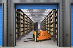 Automatic forklift in warehouse. 3d rendering empty automatic forklift in warehouse stock illustration