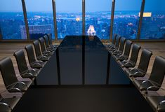 Empty boardroom in an office at New York City. 3D rendering of an empty boardroom in an office at New York City Stock Photography