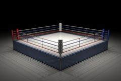3d rendering of an empty boxing ring in the dark with its center spotlighted. Show night. Boxing match. Late night fighting competition Stock Photos
