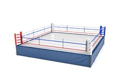 3d rendering of an empty boxing ring isolated in white background. Boxing match. Fighting show. Sports and recreation Royalty Free Stock Photography