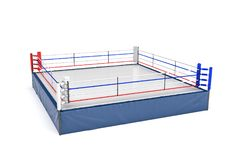 3d rendering of an empty boxing ring in side view to its corner isolated on white background. Professional boxing. Sports and recreation. Fighting competition Royalty Free Stock Photos