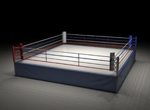 3d rendering of an empty boxing ring spotlighted in the dark. Boxing and fighting sports. Professional fighting. Sparring and competition Royalty Free Stock Photography