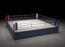 3d rendering of an empty boxing ring spotlighted in the dark. Boxing and fighting sports. Professional fighting. Sparring and competition Stock Image