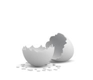 3d rendering of an empty cracked chicken egg with a white shell and several pieces of it lying around. Royalty Free Stock Image