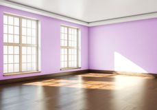 3D rendering of empty interior. Empty room with parquet floors a. Nd large Windows Royalty Free Stock Photo