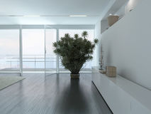 A 3D Rendering of empty living room with plant Stock Photos