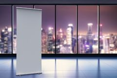 Empty roll up banner. 3d rendering empty roll up banner with office background Royalty Free Stock Image