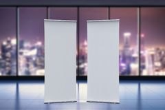 Empty roll up banner. 3d rendering empty roll up banner with office background Stock Image