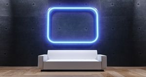 3d rendering of empty room with blue neon light and white sofa. With wooden flor and concrete wall Stock Images
