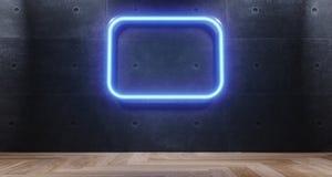 3d rendering of empty room with wooden floor with blue neon ligh. 3d rendering of empty room with blue neon light  with wooden flor and concrete wall Stock Image