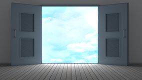 3d rendering the empty room with opened door Royalty Free Stock Images