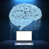 Notebook with ai brain. 3d rendering empty screen notebook with circuit brain Stock Image