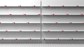 3D rendering of empty shelves in shop Stock Photography