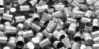 3d rendering empty tin cans background. 3d rendering empty silver tin cans background Royalty Free Stock Photos