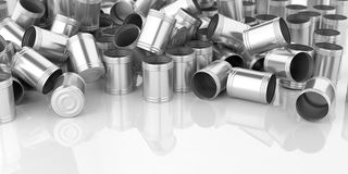 3d rendering empty tin cans. On white background Royalty Free Stock Images