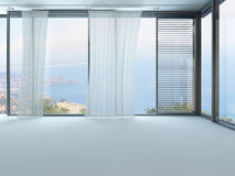 A 3D Rendering of empty white living room with curtains Stock Image