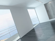 A 3D Rendering of empty white living room Stock Photography