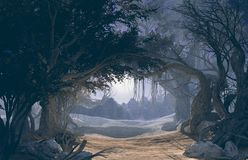 3d rendering of enchanted dark forest in the moonlight. Fairy path in the middle of Royalty Free Stock Photography