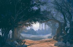 3d rendering of enchanted dark forest in the moonlight. Fairy path in the middle of Stock Images