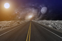 3D rendering from a endless road which ends in a nebula sky with moon and sun Stock Photos