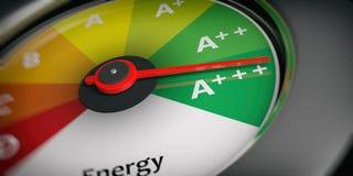 3d rendering energy efficiency as car speedometer stock illustration