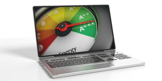 3d rendering energy efficiency concept on a laptop. On white background Stock Photo