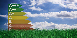 3d rendering energy efficiency rating Royalty Free Stock Photo