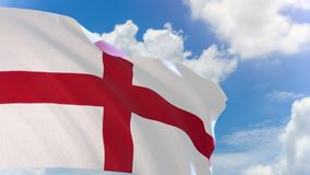 3D rendering of England flag waving on blue sky background with Alpha channel stock footage
