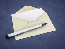 An envelope with a blank letter. 3d rendering of an envelope with a blank letter Stock Images