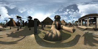 Spherical 360 degrees, seamless panorama of ancient Egypt archtecture Sphinx and pyramids. 3D rendering vector illustration