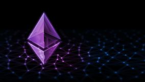 3D Rendering of Ethereum ETH glowing led hologram on Computer abstract data binary background. stock photography