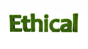 3D rendering ETHICAL word made of green grass. vector illustration