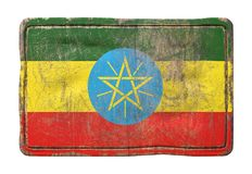 Old Ethiopia flag. 3d rendering of a Ethiopia flag over a rusty metallic plate. Isolated on white background Stock Image