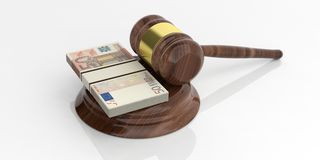 3d rendering 50 euro banknotes stacks and an auction gavel. On white background stock illustration