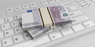 3d rendering euro banknotes stacks on a keyboard. 3d rendering 500 euro banknotes stacks on a white keyboard Royalty Free Stock Photography
