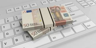 3d rendering 50 euro banknotes stacks on a keyboard. 3d rendering 50 euro banknotes stacks on a white keyboard vector illustration