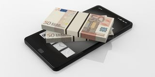 3d rendering 50 euro banknotes stacks on a smartphone. White background Royalty Free Stock Image